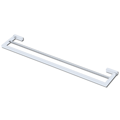 Porta Toalha Duplo de 600mm em Latão Cromado Linha Contemporânea 10428 Italy Line