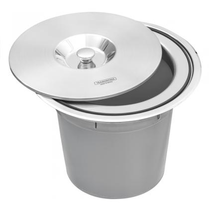 Lixeira de Embutir Clean Round em Aço Inox com Balde Plástico 8 L 4 Unidades 94518000 Tramontina