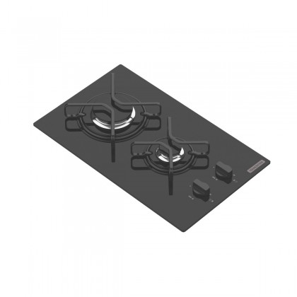 Cooktop a Gás Dominó em Vidro Temperado Preto e Trempes em Aço Carbono com Acendimento Automático 2 Queimadores 94702201