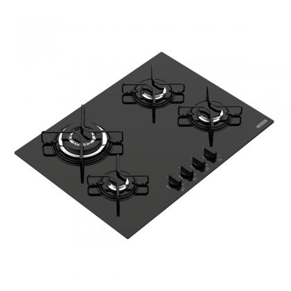 Cooktop a Gás Trapézio em Vidro Temperado Preto e Trempes em Aço Carbono com Acendimento Automático 4 Queimadores 947072