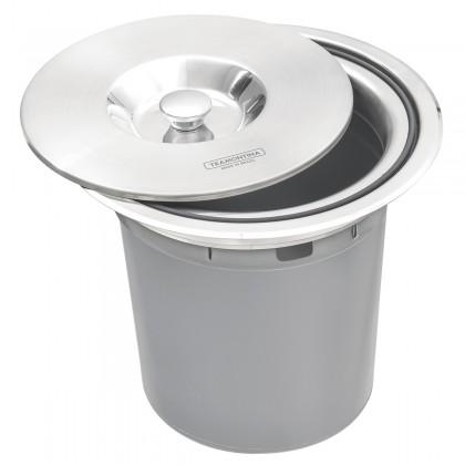 Lixeira de Embutir Clean Round em Aço Inox com Balde Plástico 5 L 4 Unidades 94518005 Tramontina