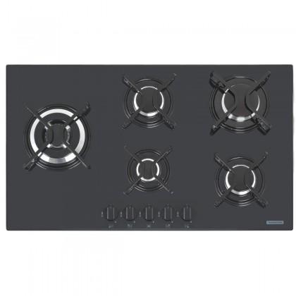 Cooktop a Gás Penta Side Plus em Vidro Temperado Preto e Trempes em Aço Carbono com Acendimento Automático 5 Queimadores