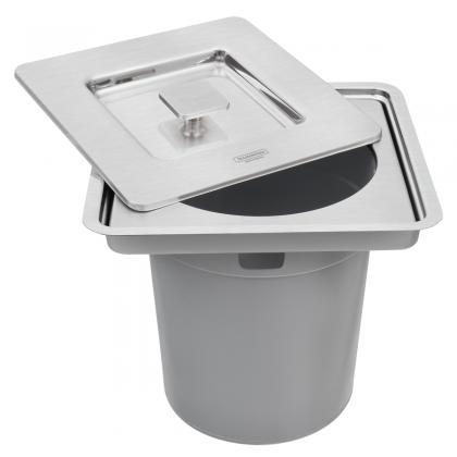 Lixeira de Embutir Clean Square em Aço Inox com Balde Plástico 5 L 94518205 Tramontina